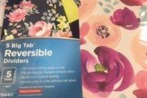 Dividers - Floral - 5 Big Tab Reversible