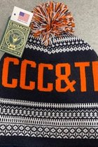 Hat - Nordic Beanie - CCC&TI Knit-In Imprint on Both Sides - Navy/White/Orange 3 Color Pom