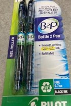Pen B2P BeGreen - Black Ink - 7mm Fine - Gel Roller 2Pk