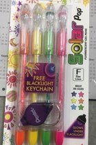 Pen SOLAR POP Gel - Assorted - Glow Under Blacklight - 4pk