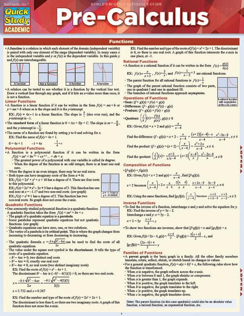 An Overview of Precalculus Topics